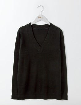 Black Cashmere Relaxed V-Neck Sweater