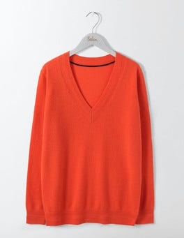 Melon Crush Cashmere Relaxed V-Neck Sweater