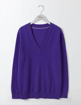 Greek Blue Cashmere Relaxed V-neck Jumper