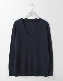 Navy Cashmere Relaxed V-Neck Sweater