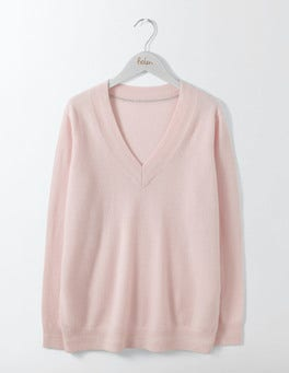 Chalky Rose Cashmere Relaxed V-Neck Sweater