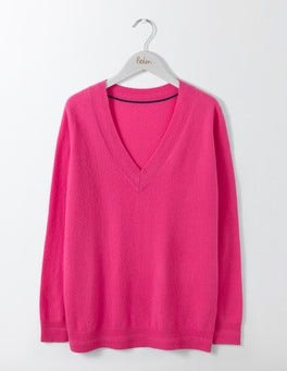 Party Pink Cashmere Relaxed V-Neck Sweater