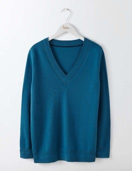 Dark Cyan Cashmere Relaxed V-Neck Sweater
