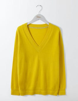 Saffron Cashmere Relaxed V-neck Jumper