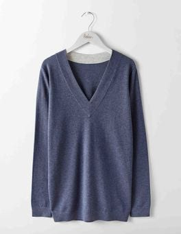 Denim Melange Relaxed Cricket Sweater