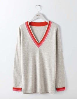 Silver Melange Relaxed Cricket Sweater