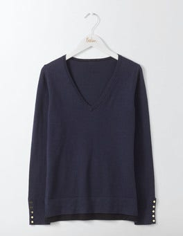 Navy Tilly V-Neck Sweater