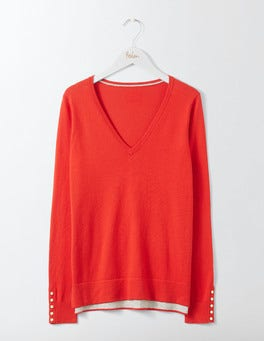 Post Box Red Tilly V-Neck Jumper