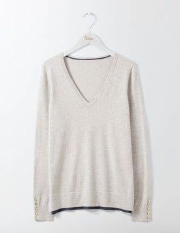 Silver Melange Tilly V-Neck Sweater