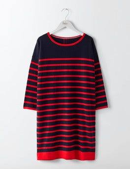 Navy/Post Box Red Stripe Knit Tunic