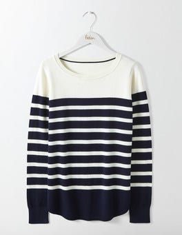 Ivory/Navy Stripe Emilie Curved Hem Jumper