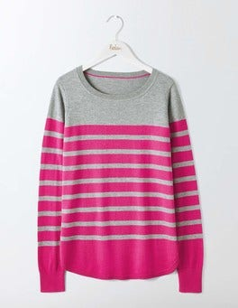 Grey Melange/Pink Stripe Emilie Curved Hem Sweater