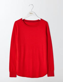 Post Box Red Emilie Curved Hem Sweater