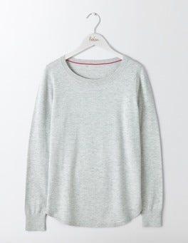 Silver Melange Emilie Curved Hem Sweater