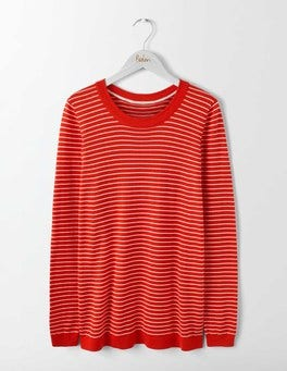 Post Box Red/Ivory Stripe Serena Woven Mix Jumper