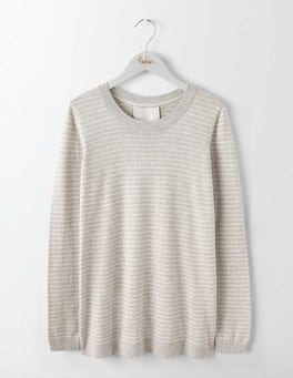 Silver Melange/Ivory Stripe Serena Woven Mix Sweater