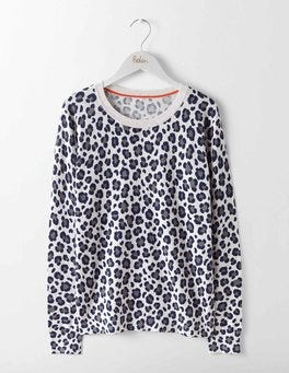 Silver Melange Mono Leopard Printed Sweater