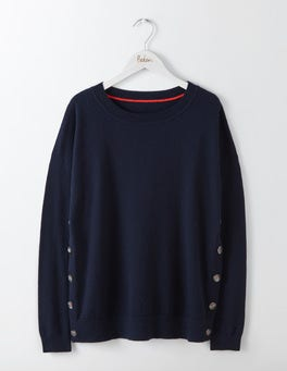 Navy Grace Button Sweater