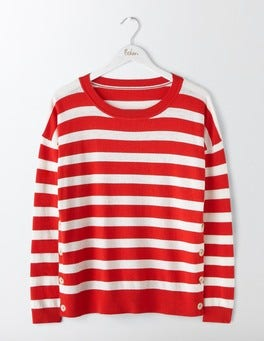 Ivory/Post Box Red Stripe Grace Button Jumper