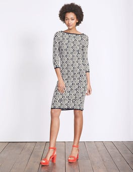 Navy Heart Knit Jacquard Prudence Knitted Dress