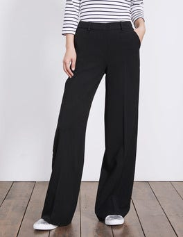 Black W/ Navy Velvet Stripe Charlbury Wide Leg Trousers
