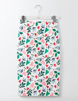 Ivory Multi Folklore Richmond Pencil Skirt