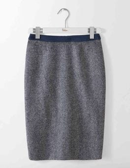 Navy and Ivory Herringbone British Tweed Pencil Skirt