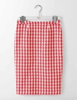Red and Pink Check Freya Pencil Skirt