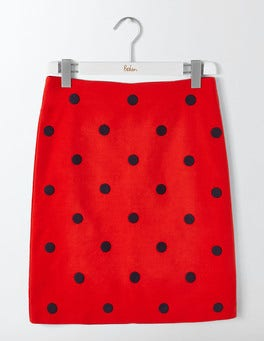 Post Box Red Fenella Embroidered Skirt