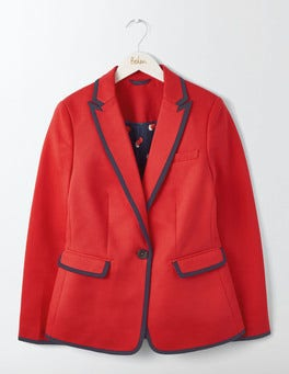 Post Box Red with Navy Tipping Picardy Tipped Blazer