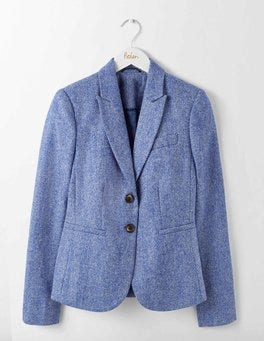 Blue and Ivory Herringbone Elizabeth British Tweed Blazer