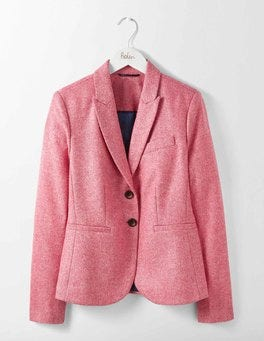 Pink Herringbone Elizabeth British Tweed Blazer