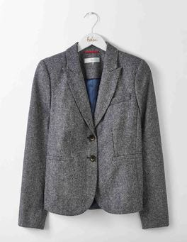 Navy and Ivory Herringbone Elizabeth British Tweed Blazer