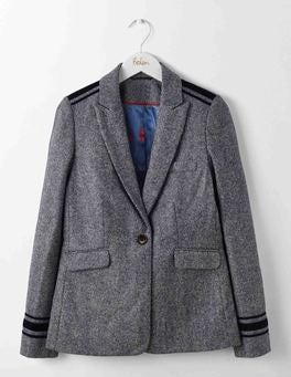 Navy and Ivory Herringbone Victoria British Tweed Blazer