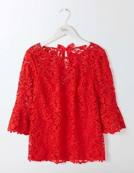 Post Box Red Brittany Lace Top
