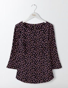 Black Pop Spot Delia Top