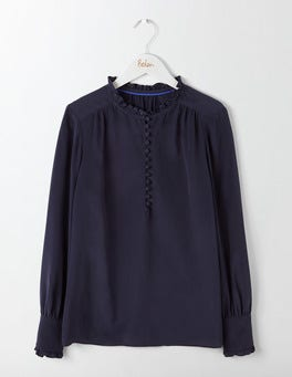 Navy Ella Silk Blouse