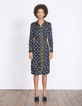 Saffron Shadow Spot Jenna Shirt Dress