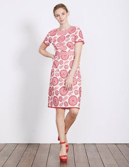 Red Medallion/Leaf Broderie Mila Broderie Dress