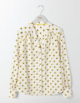 Ivory, Mini Shadow Spot Olive Blouse