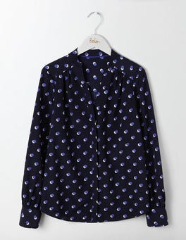 Blues Mini Shadow Spot Olive Blouse