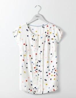 Ivory Multi Confetti Spot Pleat Front Top