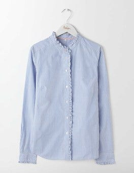 Blue and Ivory Stripe Virginie Ruffle Shirt