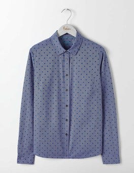 Blue Flocked Spot The Classic Shirt