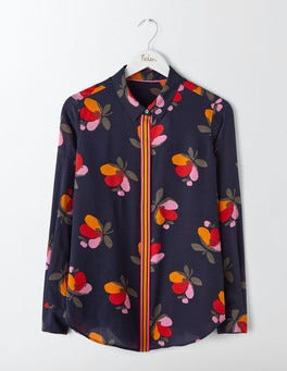 Navy Bloom The Silk Shirt