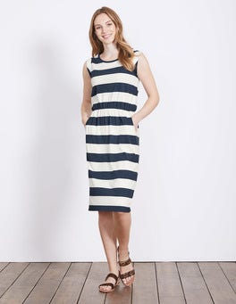 Indigo Marl/Ivory Stripe Blackberry Dress