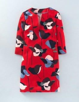 Red Collage Floral Easy Notch Neck Dress