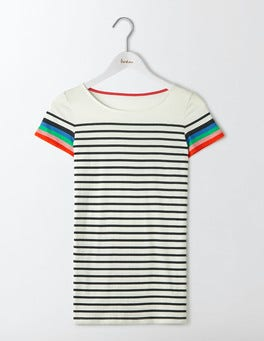Ivory/Navy Multi Short Sleeve Breton