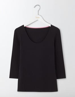 Black Double Layer Front Tee