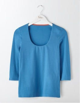 Solstice Blue Double Layer Front Tee
